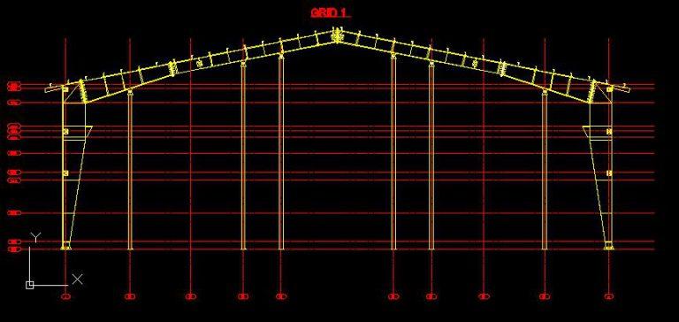 نقشه های کامل اجرایی سوله از Tekla